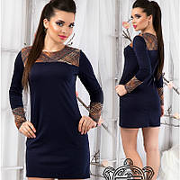 Короткое темно-синее платье