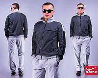 Мужской спортивный костюм Меланж темно-серый+светло-серый