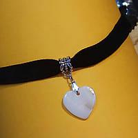 Чокер бархатный с белым сердечком