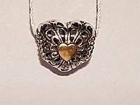 Серебряная подвеска-шарм Винтажное сердце. Артикул П5/785