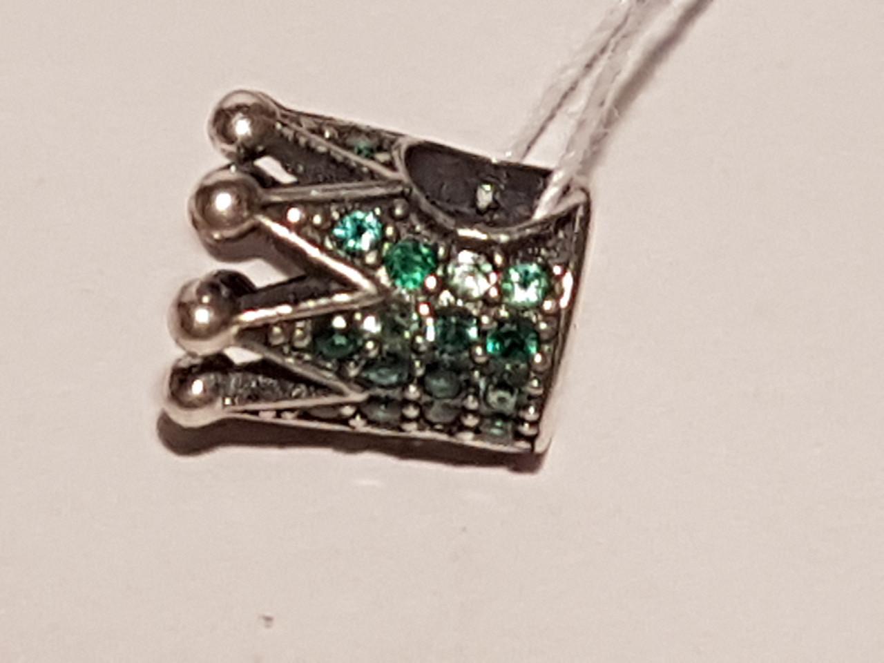 Серебряная подвеска-шарм Корона с фианитами. Артикул П5ФИ/726
