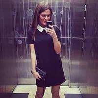 Платье черное с белым рубашечным  воротником