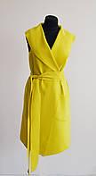 Пальто женское летнее, желтое без рукавов