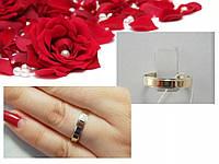 Обручальное кольцо из серебра с золотом 375пробы
