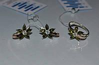 Серебряный гарнитур с накладками из золота - Весна