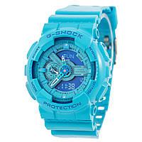 Мужские (женские) спортивные наручные часы Casio G-Shock ga-110 светло-синего цвета, AAA копия,полный комплект, фото 1