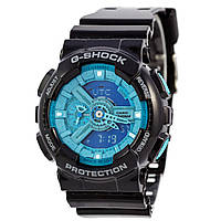 Мужские (женские) спортивные наручные часы Casio G-Shock ga-110 черный+синий - AAA копия, полный комплект, фото 1