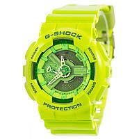 Мужские (женские) спортивные наручные часы Casio G-Shock ga-110 салатовый+зеленый - AAA копия, полный комплект, фото 1