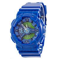 Мужские (женские) спортивные наручные часы Casio G-Shock ga-110 синий+зеленый - AAA копия, полный комплект, фото 1