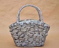"Корзина ""сумочка"", цвет серый, металл/солома, 24 см"