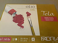 Склейка А3, 30*40 см, 10 листов, 300 г/м2, холст, Tela, Fabriano, 165402