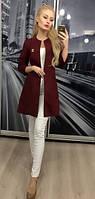"""Модный женский пиджак """"Шанель"""" с карманами, 42-56, бордовый"""