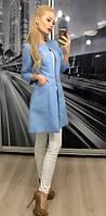 """Модный женский пиджак """"Шанель"""" с карманами, 42-56, голубой"""