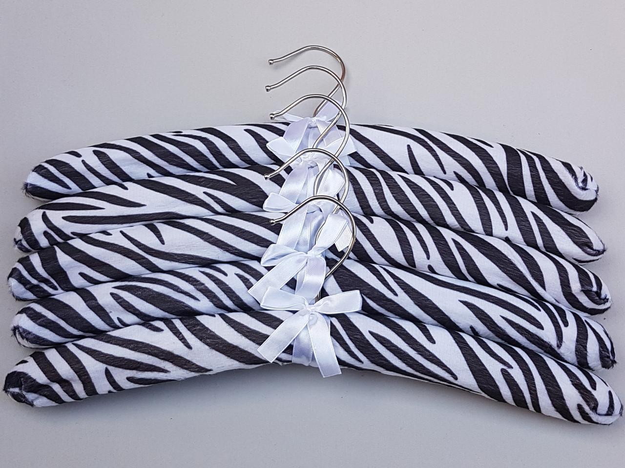 Плічка довжина 38 см, в упаковці 5 штук вішалки м'які сатинові для делікатних речей зебра