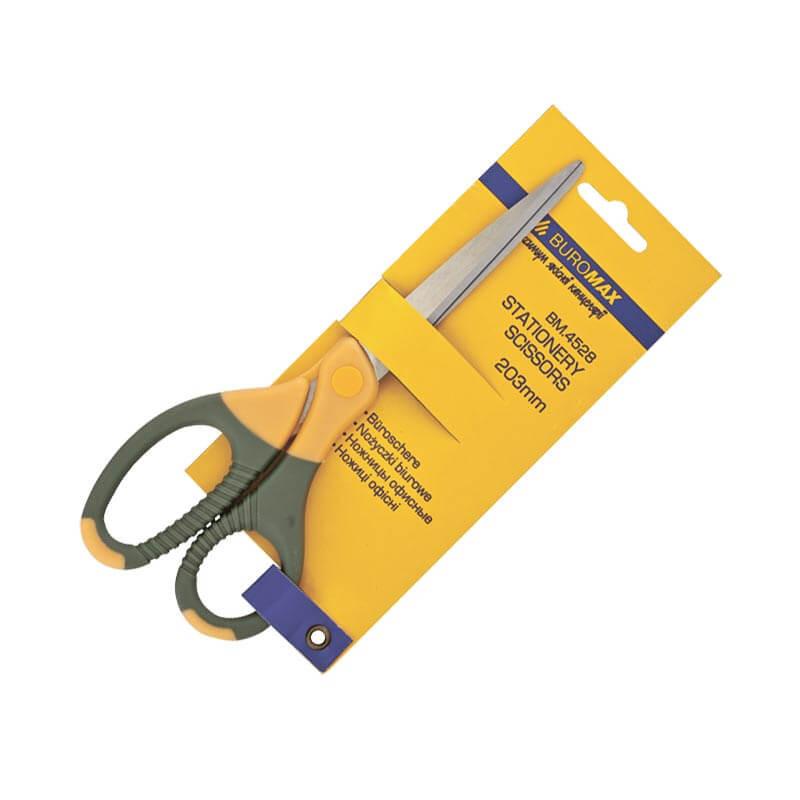 Ножницы канцелярские 203 мм, с резиновыми вставками, BUROMAX, BM.4528, 4528