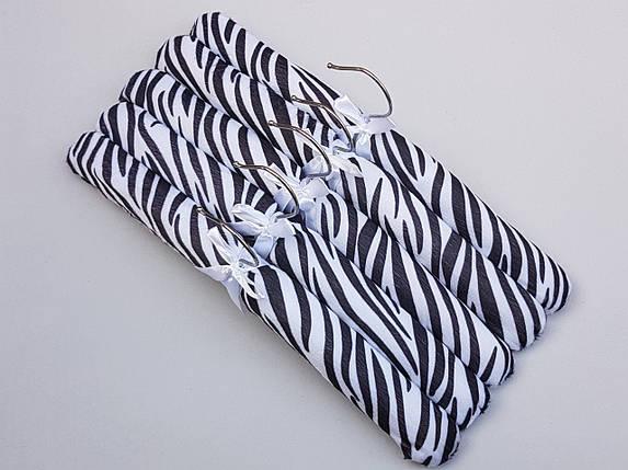 Плічка довжина 38 см, в упаковці 5 штук вішалки м'які сатинові для делікатних речей зебра, фото 2