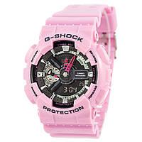 Мужские (женские) спортивные наручные часы Casio G-Shock ga-110 розовый+черный - AAA копия, полный комплект, фото 1