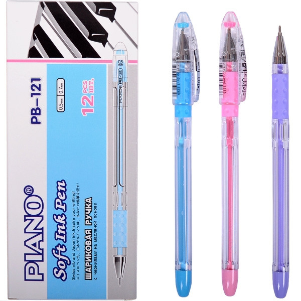 Ручка шариковая 0,7 мм, Piano, PB-121, синяя, 711392