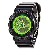Мужские (женские) спортивные наручные часы Casio G-Shock ga-110 черный+зеленый - AAA копия, полный комплект, фото 1