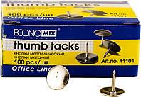 Кнопки металлические никелированные, 100 шт/уп, Economix, 41101