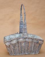 Корзина прямоугольная, цвет серый, металл/солома, 32 см