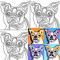"""Холст на картоне с контуром, """"Pop Art Dog"""", 30*30 см, хлопок, акрил, ROSA Talent, 284306"""