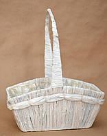 Корзина прямоугольная, цвет белый, металл/солома, 32 см