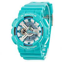 Мужские (женские) спортивные наручные часы Casio G-Shock ga-110 голубой+белый, AAA копия,полный комплект, фото 1