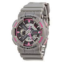 Мужские (женские) спортивные наручные часы Casio G-Shock ga-110 серый+розовый - AAA копия, полный комплект, фото 1