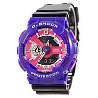 Мужские (женские) спортивные наручные часы Casio G-Shock ga-110 фиолетовый+черный - AAA копия, полный комплект, фото 1