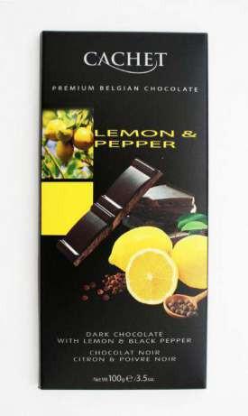 Шоколад черный Cachet Кашет 57 % какао с лимоном и перцем 100 г Бельгия