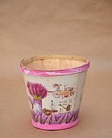 Деревянное декоративное кашпо, дерево, цвет розовый, высота 13 см, диаметр 10/14 см