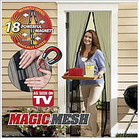 Москитная сетка на магнитах Magic Mesh. Сетка от комаров, антимоскитная сетка на двери,