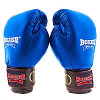Перчатки боксерские кожа Profi (ФБУ,Boxer) 10 oz синие BX03812-10B