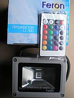 Светодиодный прожектор 10W со сменой цвета RGB с пультом ДУ Feron LL-180