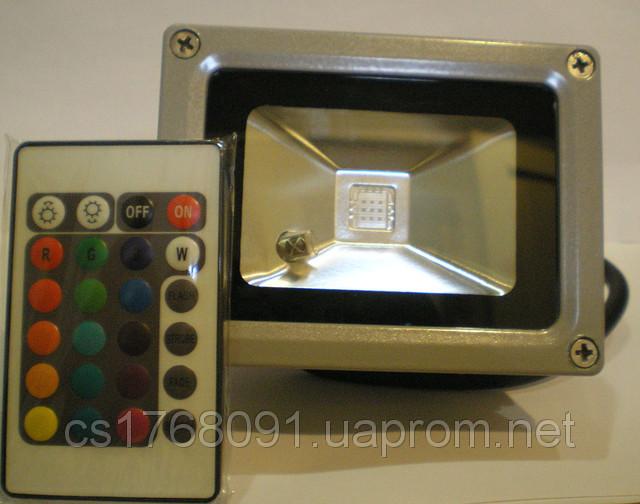 Светодиодный прожектор 10W со сменой цвета RGB с пультом ДУ Lemanso