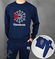 Мужской спортивный костюм Reebok синего цвета с бело-красным логотипом на груди, фото 1