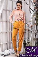 Женские брюки с высокой талией цвета горчица (р.S, M, L, XL) арт. 12961