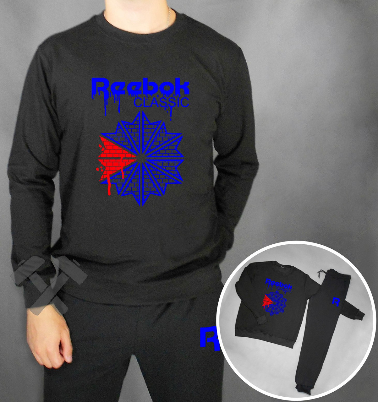 Спортивный костюм Reebok черного цвета с синим логотипом на груди, фото 1