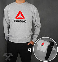 Спортивный костюм Reebok RBK серый верх черный низ с красным логотипом на груди, фото 1