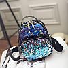 Модный маленький рюкзак женский городской пайетки. Рюкзак с пайетками двусторонними Синий