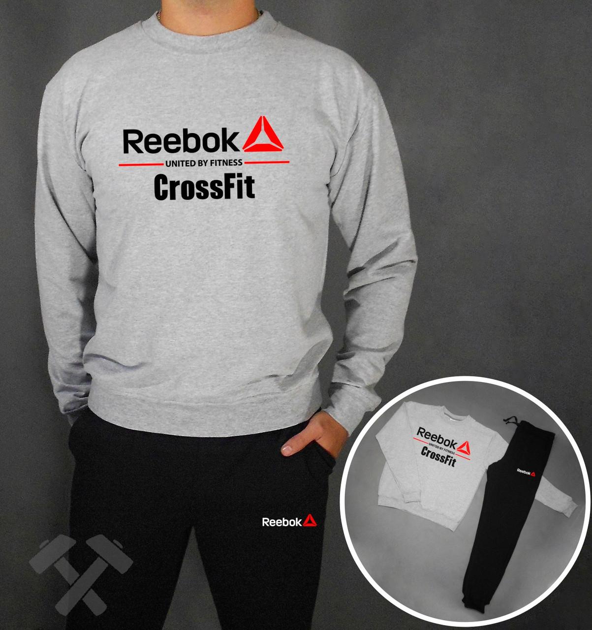 2c7b35021d26a8 Спортивный костюм Reebok CrossFit серый верх черный низ купить в ...