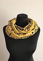 Трикотажный шарф снуд с надписями