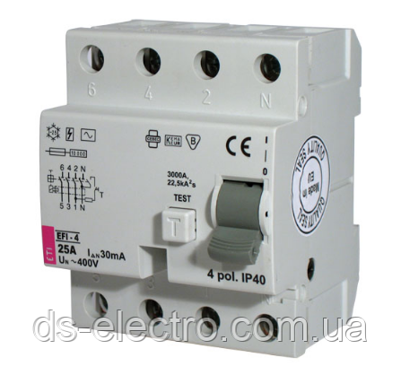Реле дифференциальное (УЗО) EFI-4 63/0,1 тип AC (10kA)