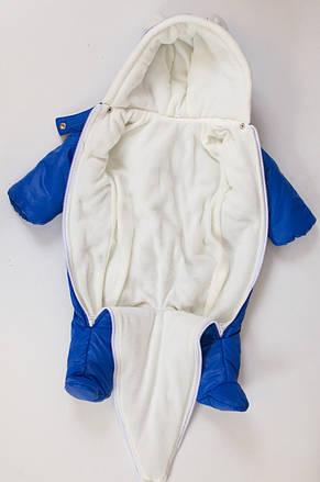 Утепленный демисезонный комбинезон детский для новорожденных 68-74, фото 3