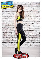 Лосины для фитнеса Real Sport FS220001-BY, черно-желтые