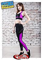 Лосины для фитнеса Real Sport FS220003-BP, черно-фиолетовые