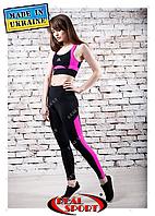Лосины для фитнеса Real Sport FS220002-BP, черно-розовые
