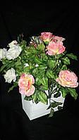 Букеты из искусственных роз, разные цвета, выс. 53 см., 20 шт. в упаковке, 52 гр.