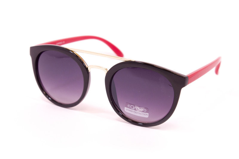 cea2101c75fe Солнцезащитные очки с красными дужками в модной круглой оправе ...